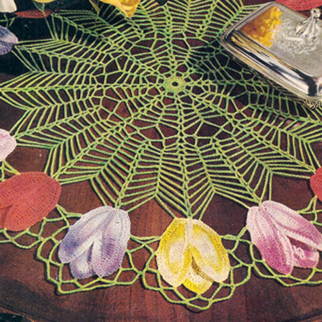 Spiderweb Doily with Tulip Border Crochet Pattern