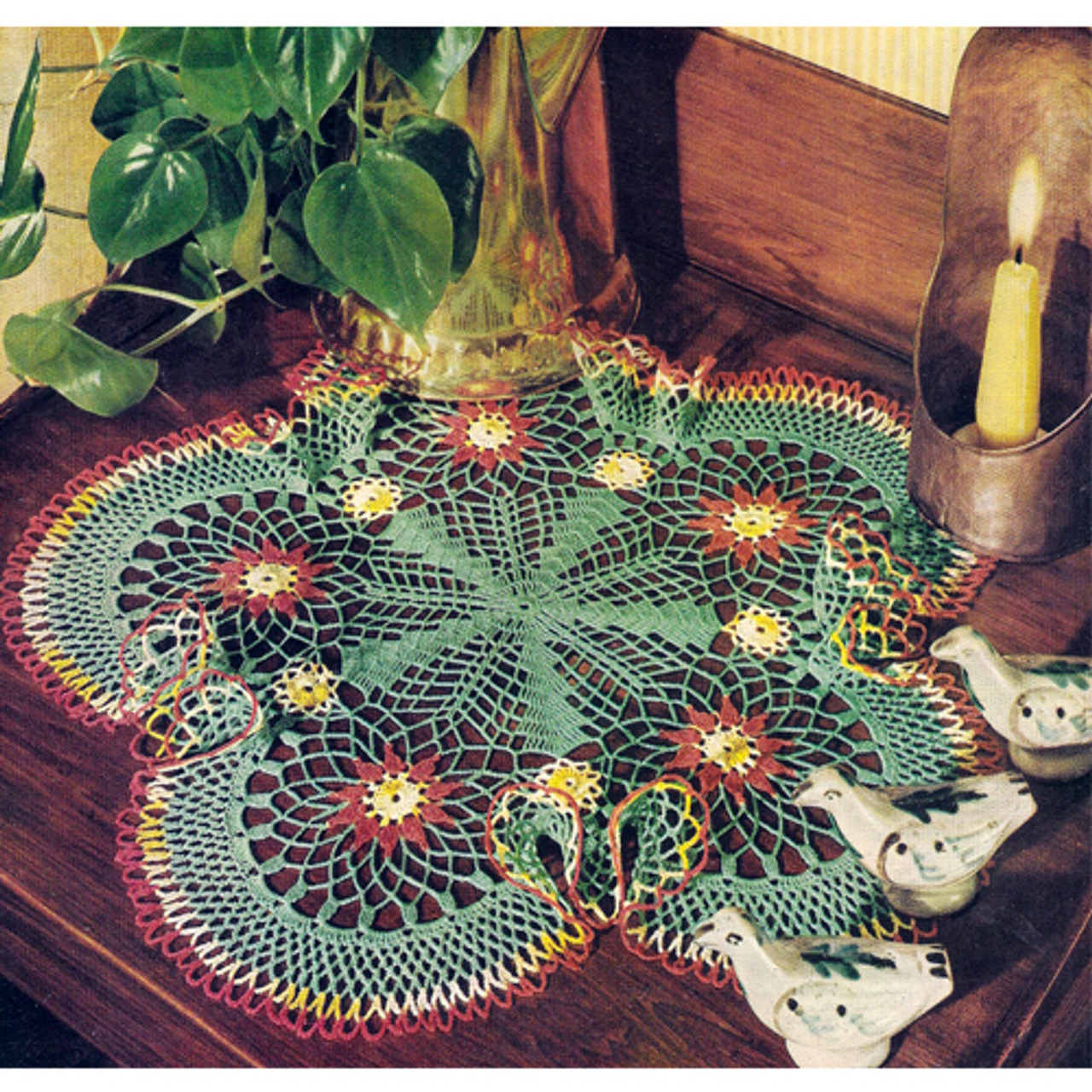 Tri Color Crochet Doily Pattern, Vintage 1960s