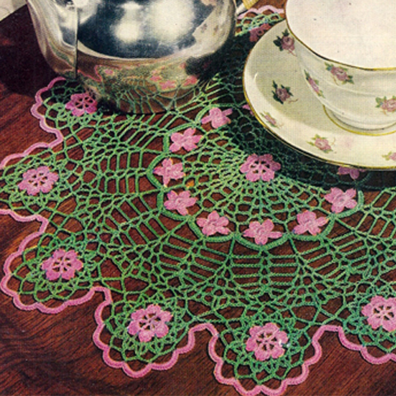 Crocheted Wild Rose Doily Pattern with Scalloped Border
