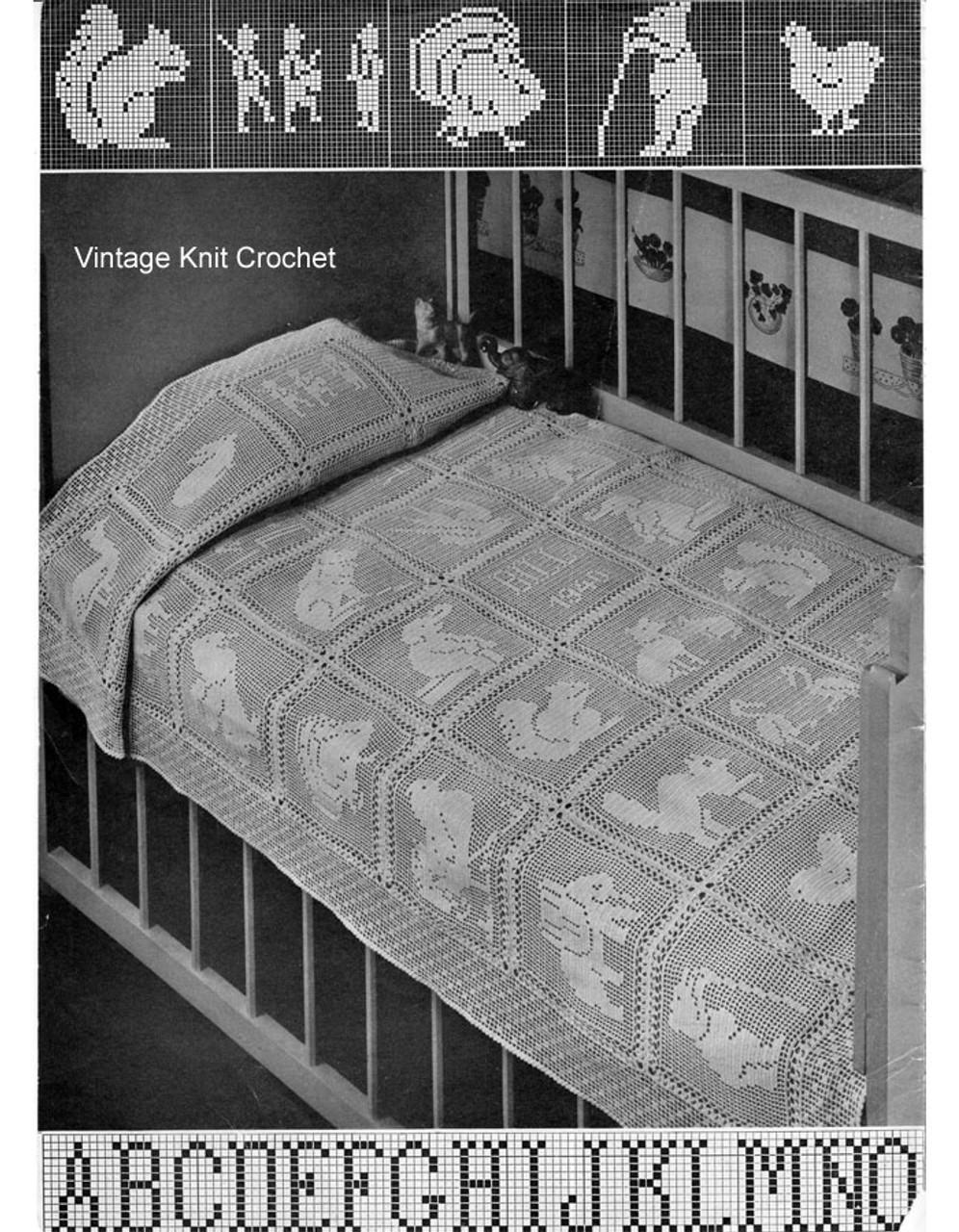 filet crochet baby blanket pattern with animal motifs