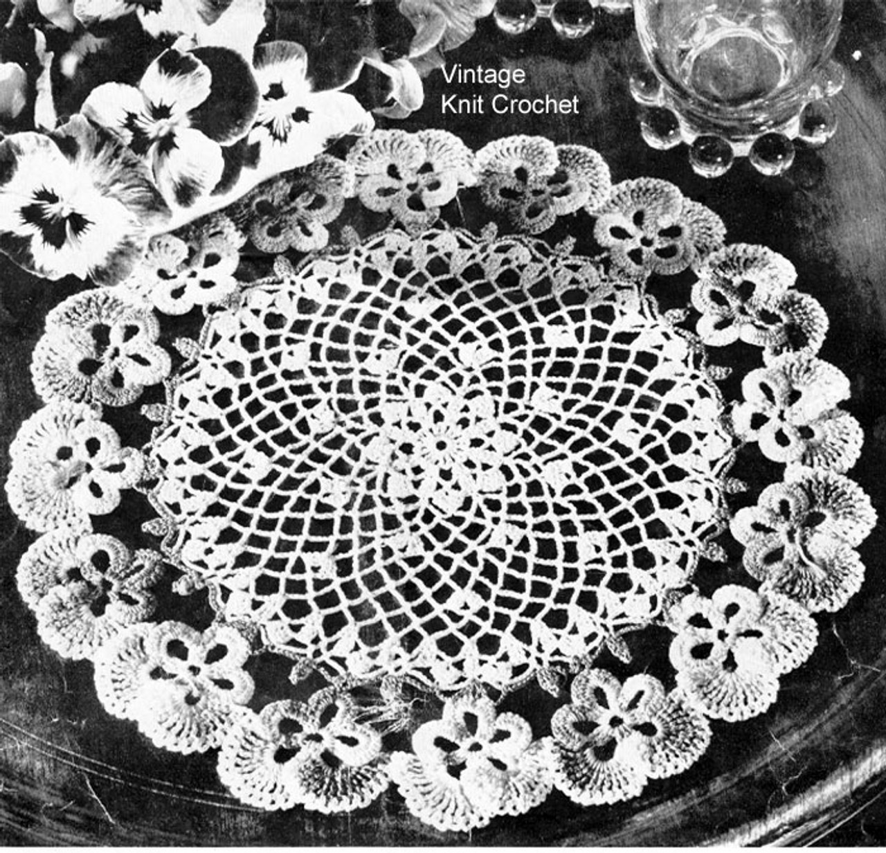 Crocheted Pansy Doily Pattern