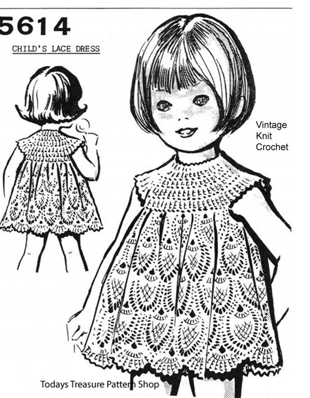 Girls Crochet Pineapple Dress Pattern, Peggy Roberts 5614