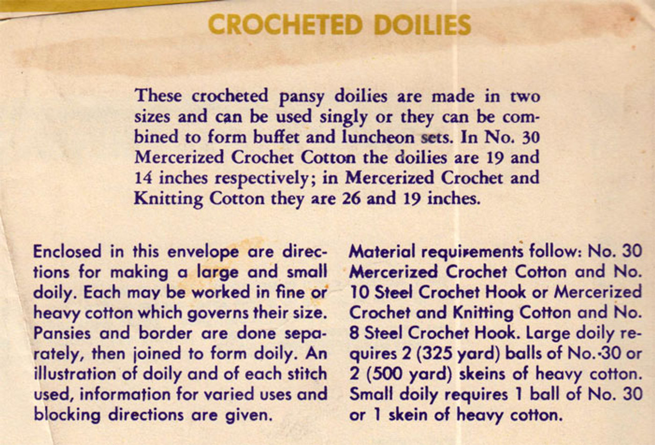 Crochet Pansy Pattern Description and requirements