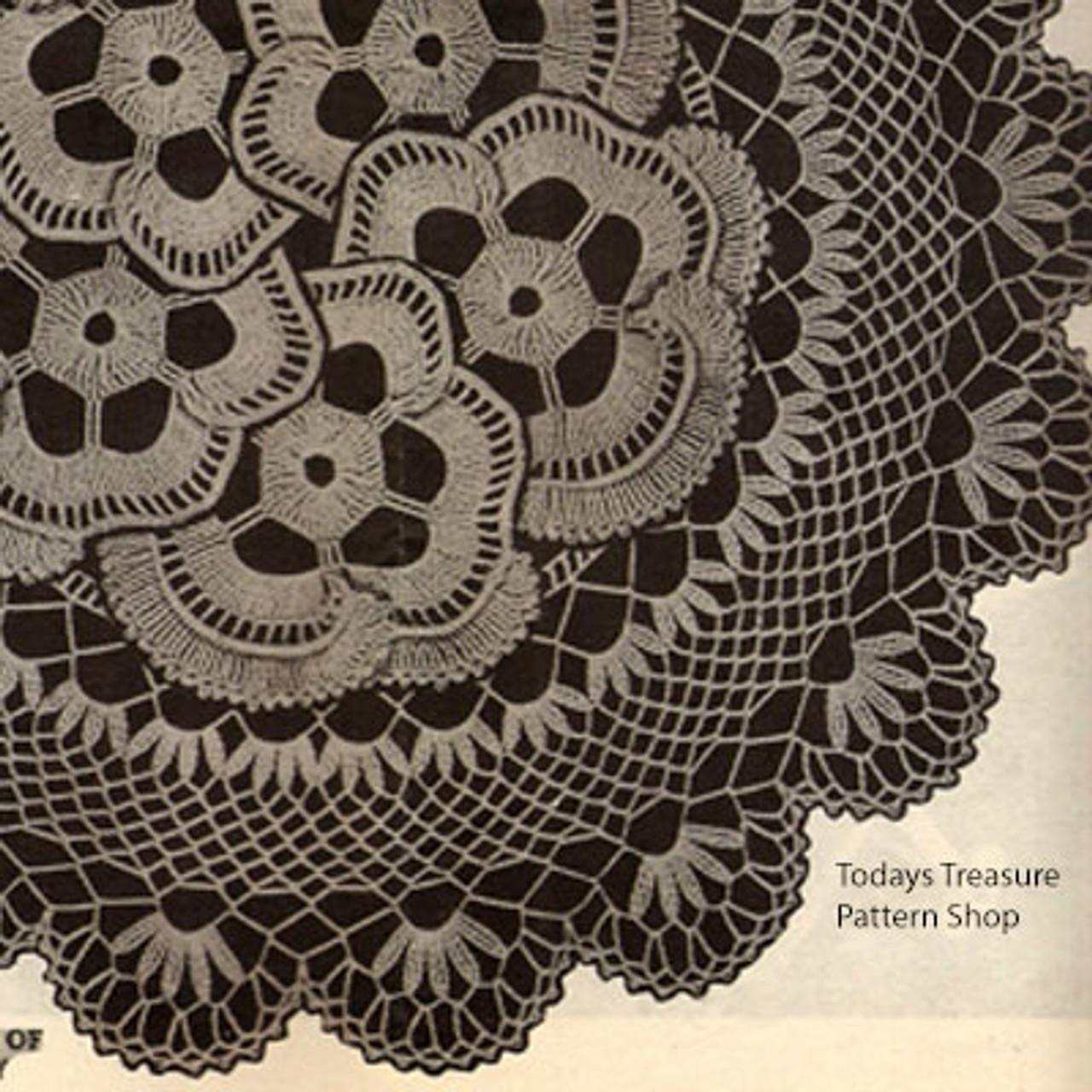 Large Pansy Doily Crochet Pattern Detail