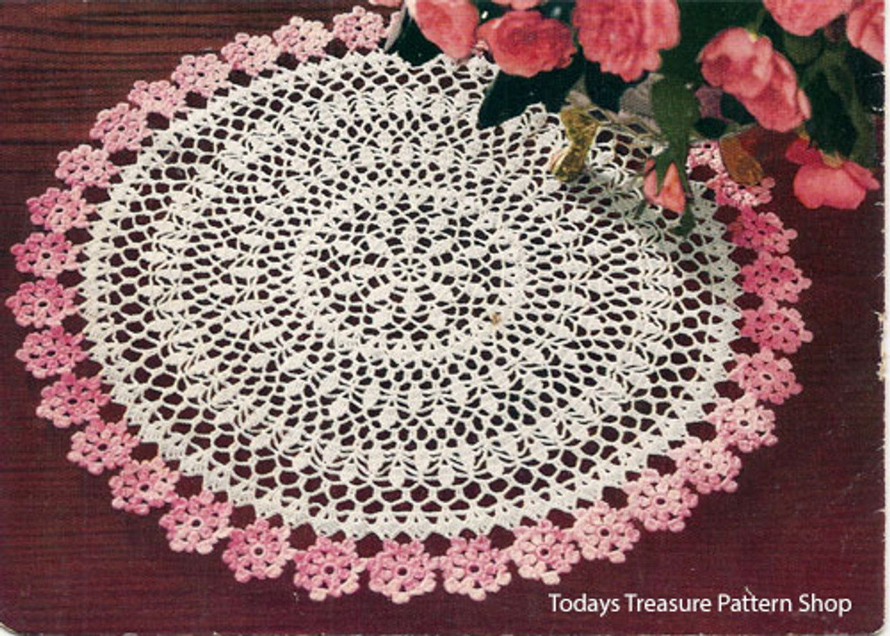 Pink White Crocheted Flower Doily pattern