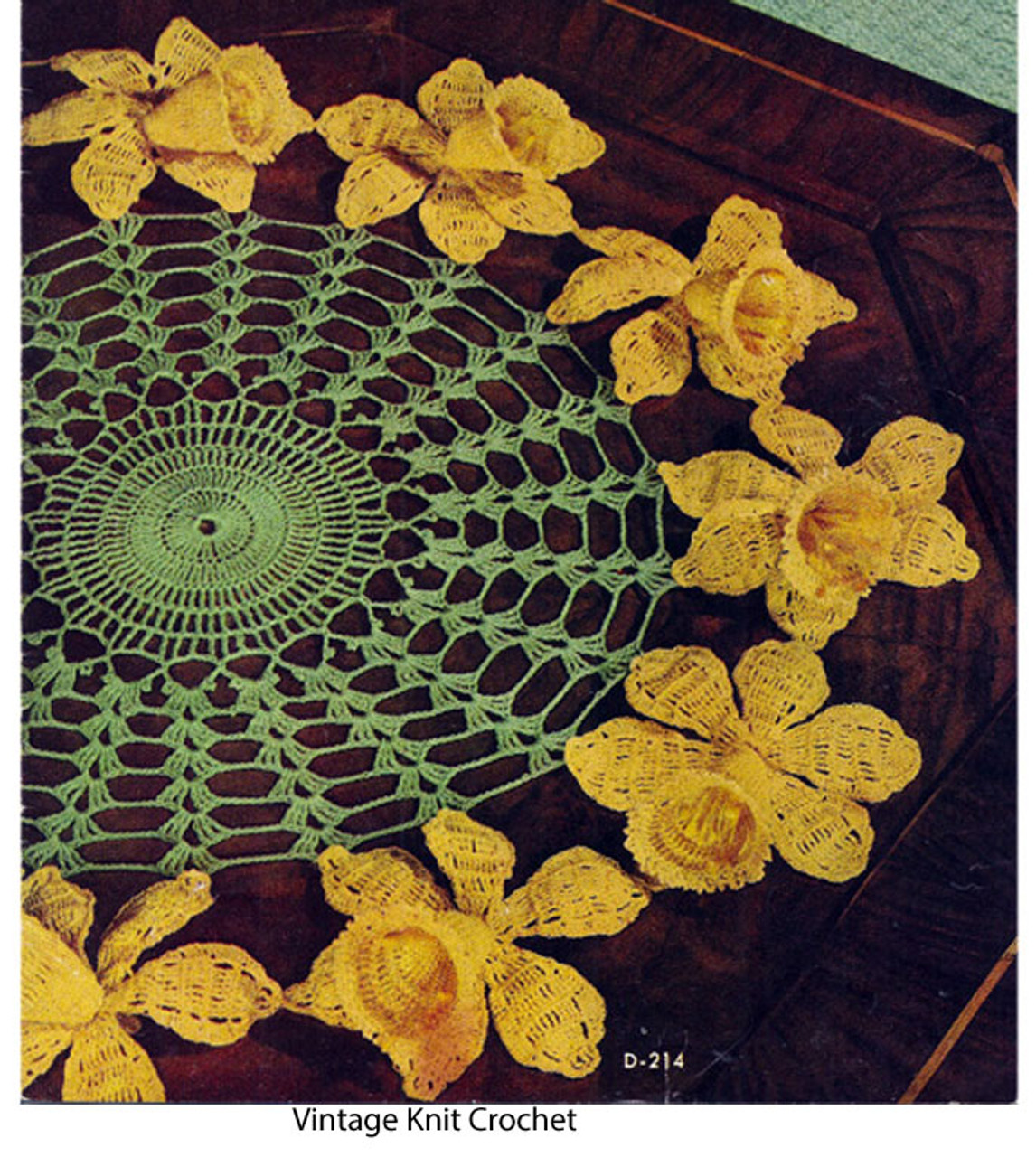 Vintage Crochet Daffodil Doily Pattern No 214