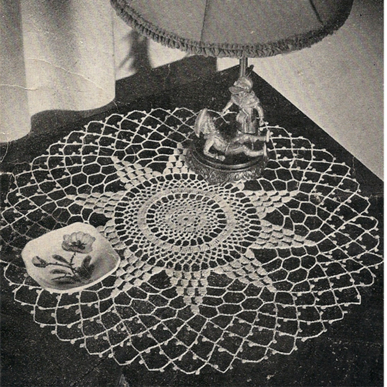 Vintage Star Doily Crochet Pattern surrounded by spiderweb mesh