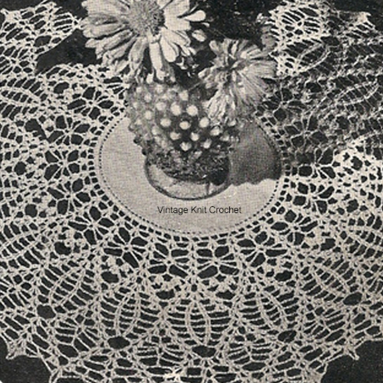 Crocheted Pineapple Doily Pattern with linen center, 10 inches