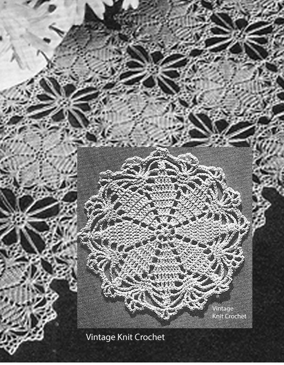 Vintage Crochet Runner Pattern, Round Medallions