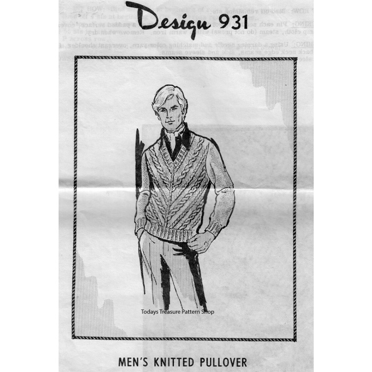 Mens Cable Pullover Knitting Pattern