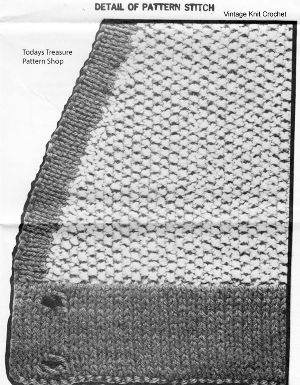 Knitted seed stitch vest illustration