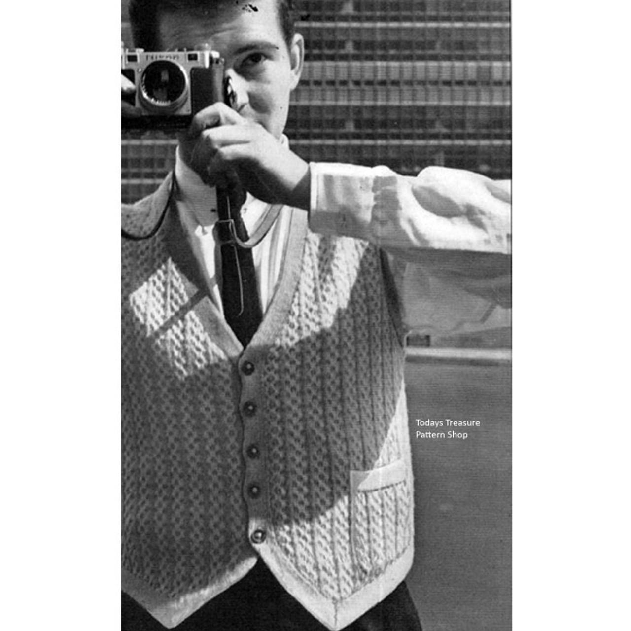 Vintage Mans Knitted Vest Pattern