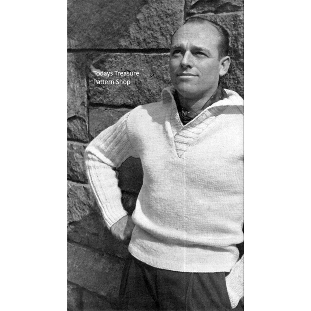 Mans Collared Pullover Knitting Pattern from Spinnerin