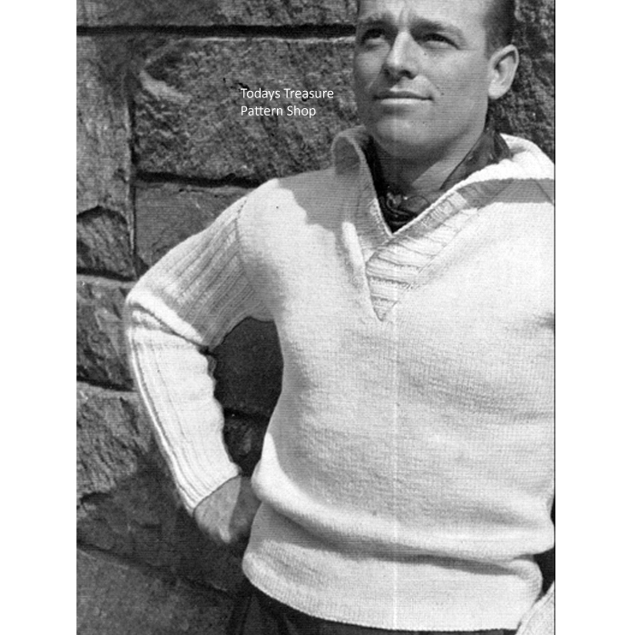 Vintage Spinnerin Mens Knitted Pullover Pattern