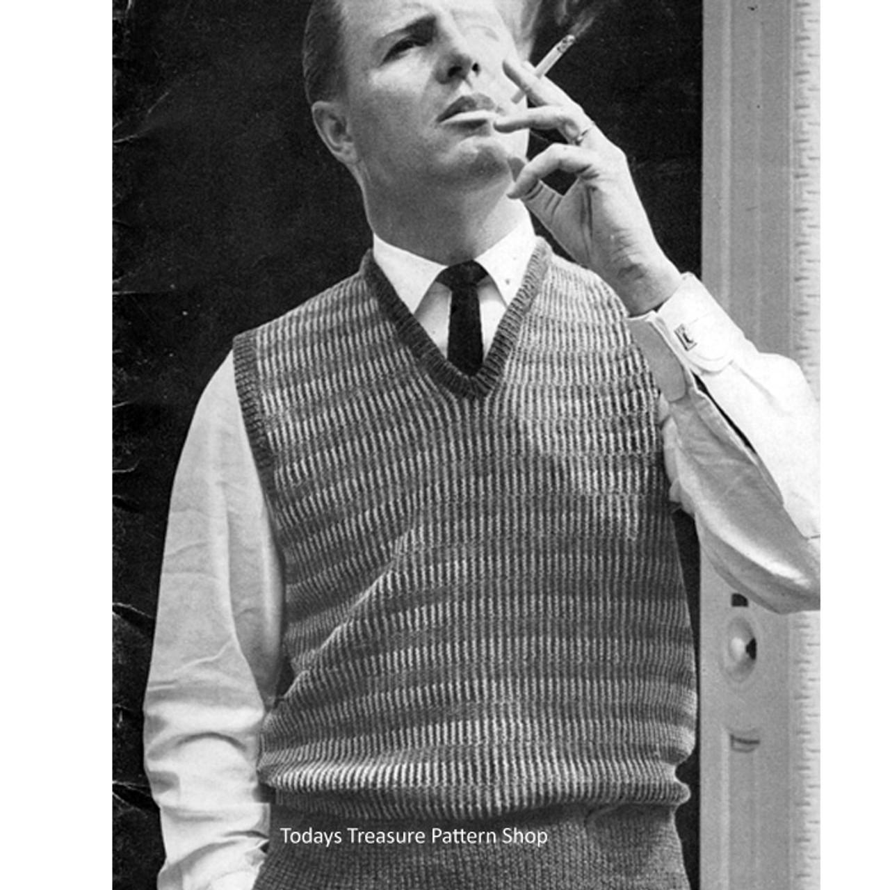 Spinnerin Mens Sleeveless Pullover Knitting Patter
