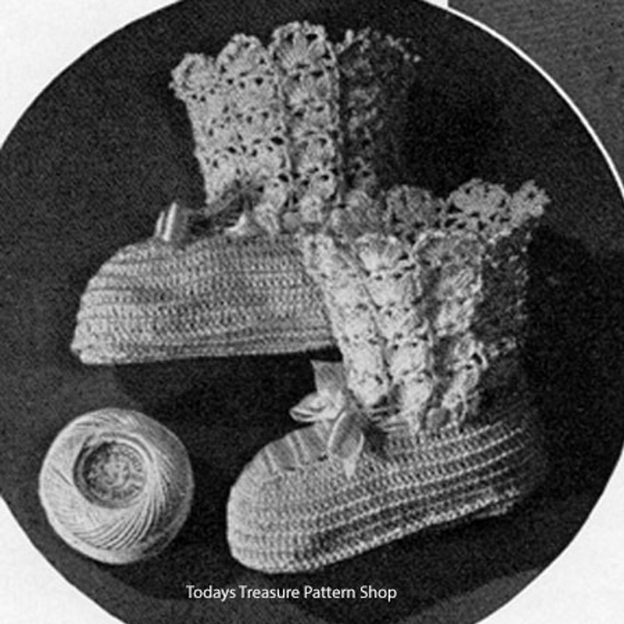 Girls High Top Crocheted Baby Booties