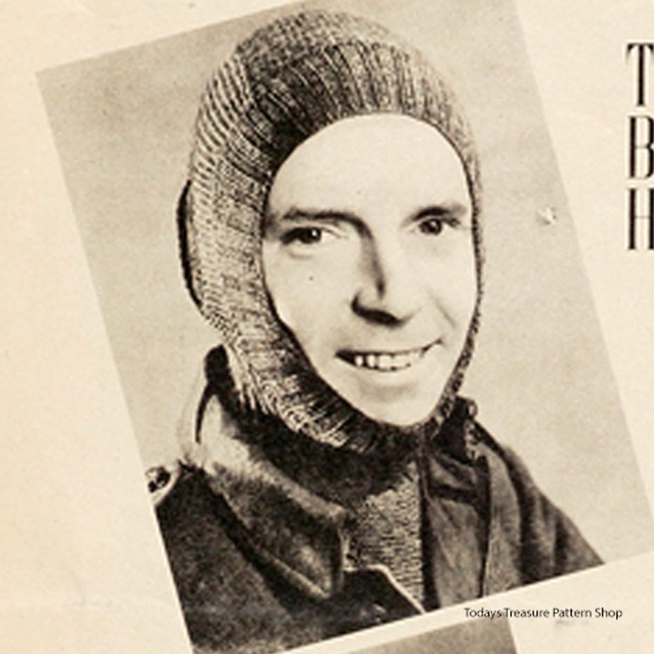 Fatigue Helmet Knitting Pattern, Vintage 1940s