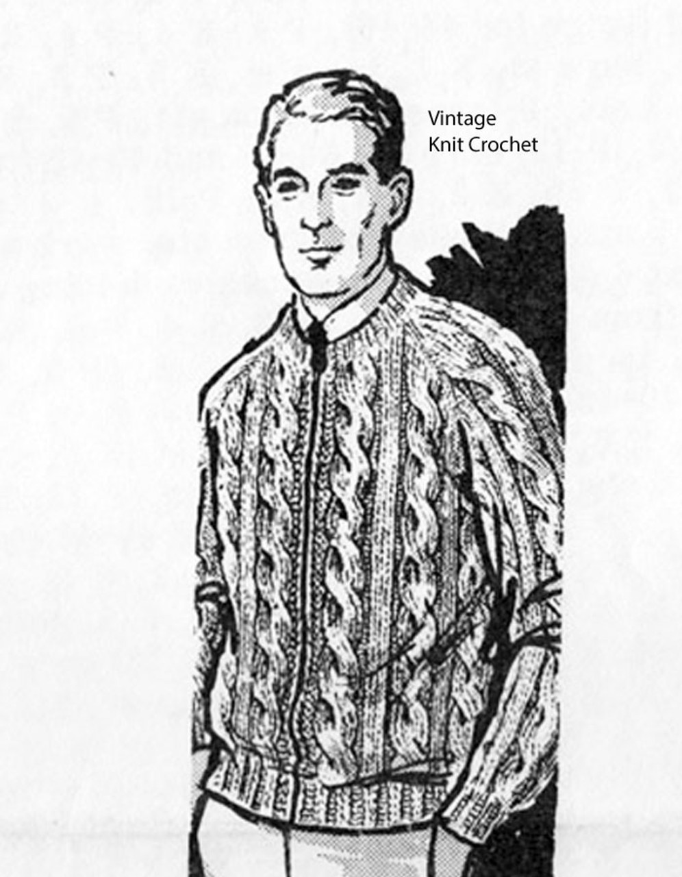 Mans Knitted Cable Jacket Pattern, Mail Order Design 906