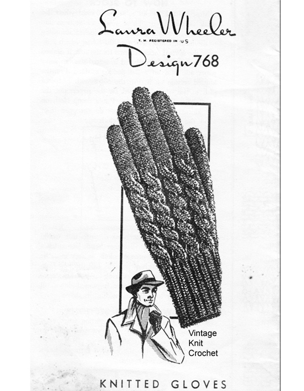 Mans Knitted Cable Gloves Pattern, Mail Order 768