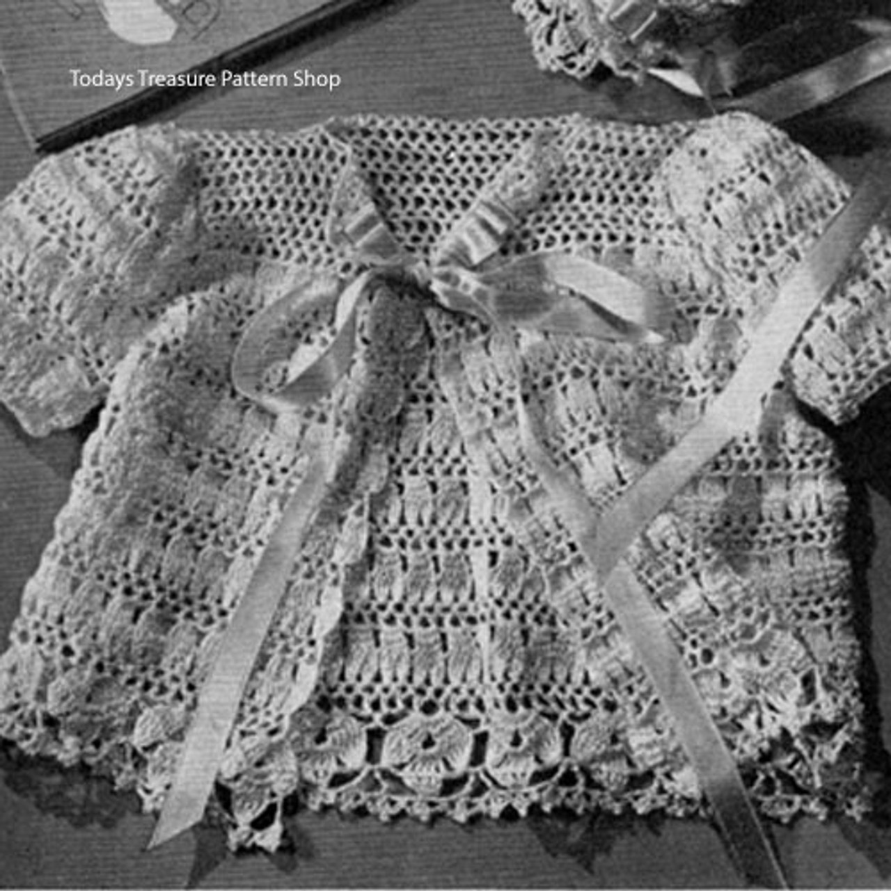 Lacy crocheted baby jacket pattern