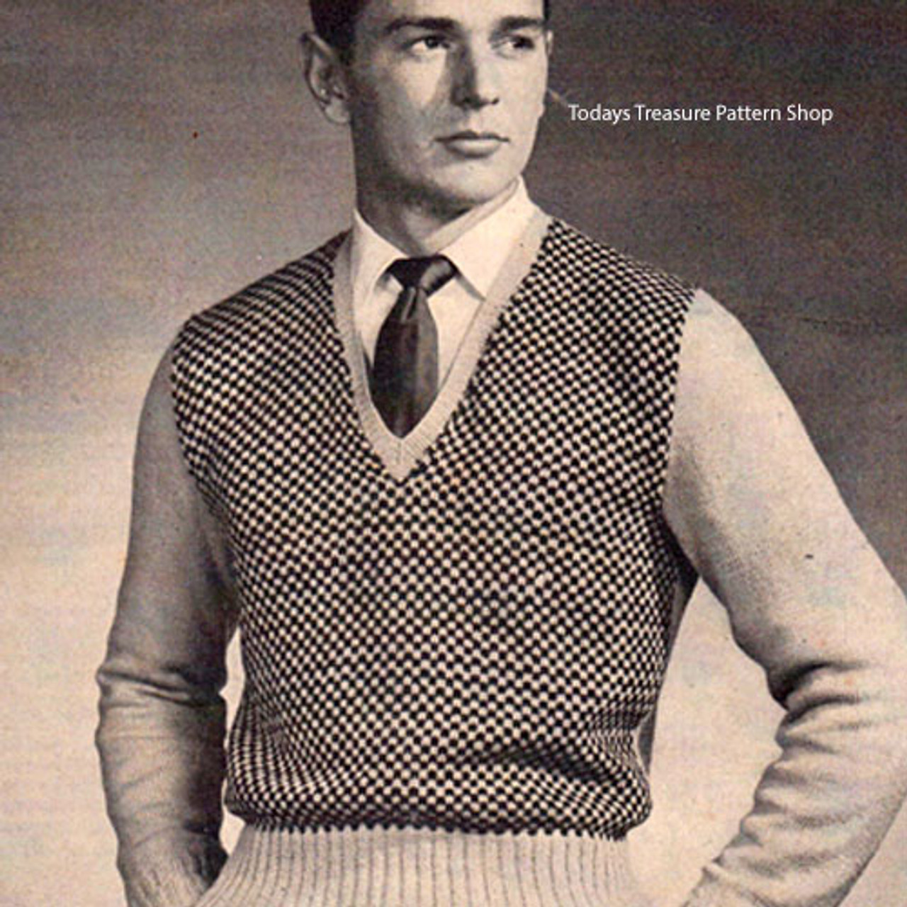 Vintage Mans Checked Pullover Knitting Pattern