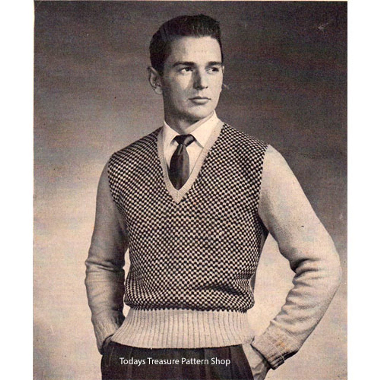 Mans Knitted Checked Pullover Pattern with V-neck