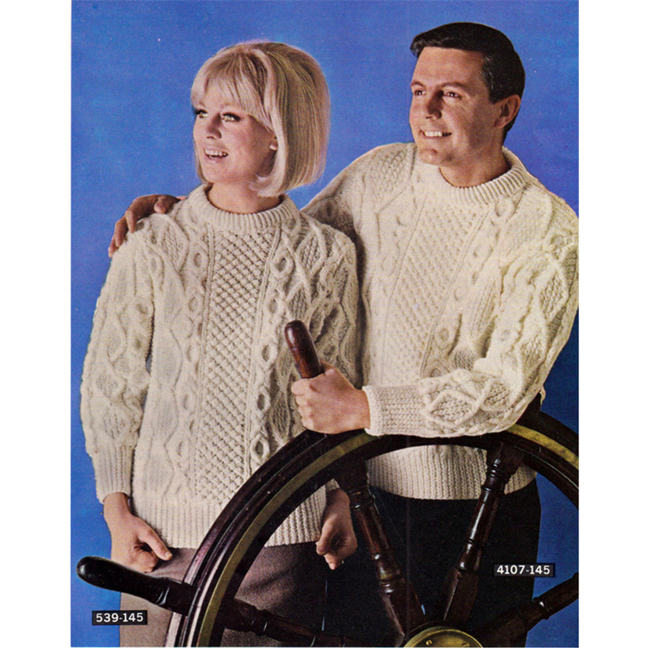 Vintage Knit Irish Fisherman Pullovers Pattern from Bernat