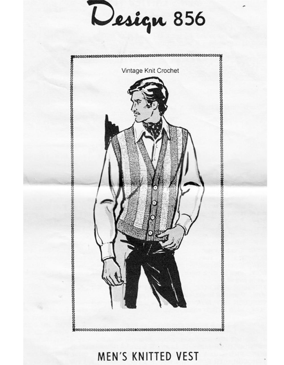 Mans Knitted Vest Pattern, Mail Order 856