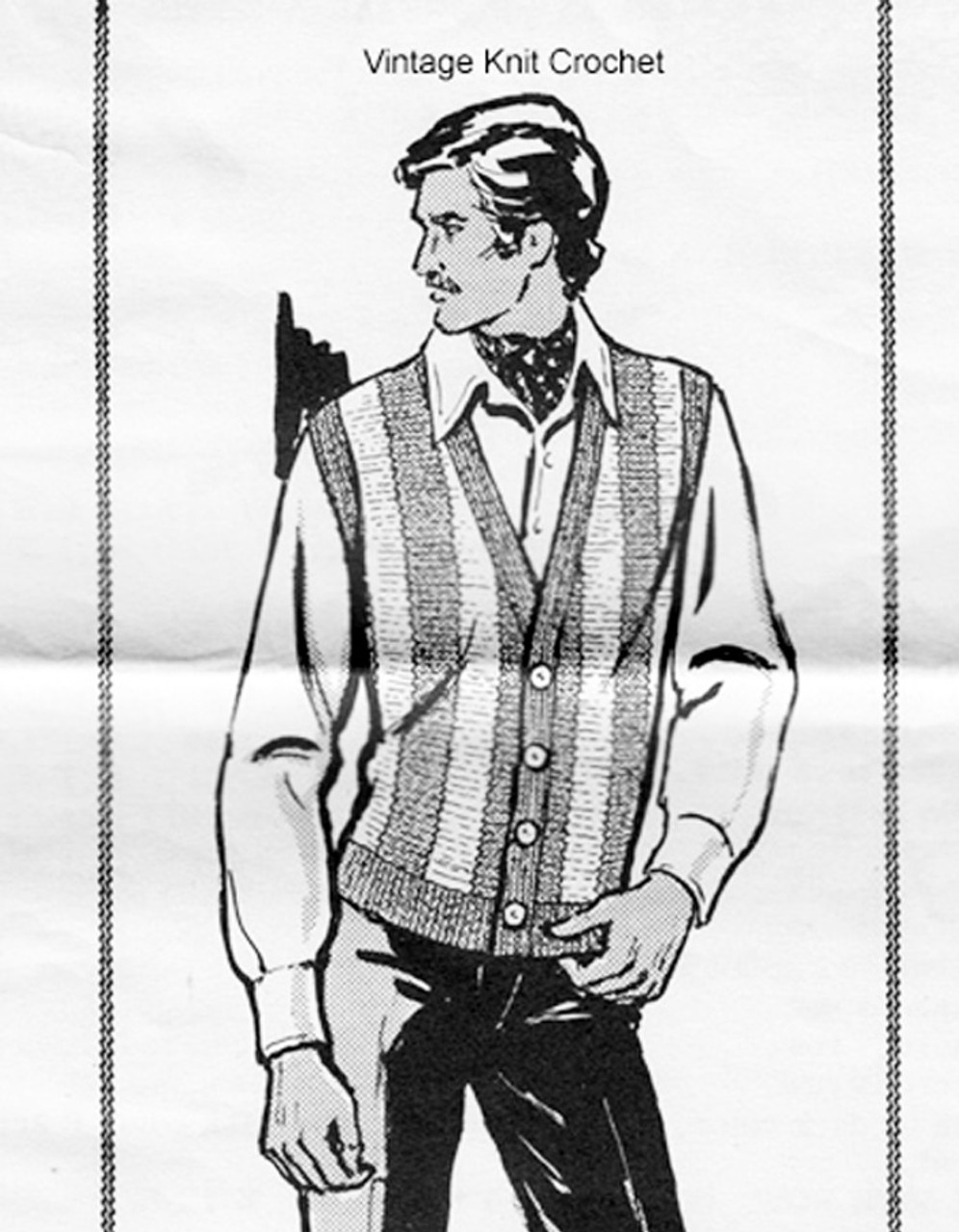 Striped Mans Vest Knitting Pattern, Laura Wheeler 856