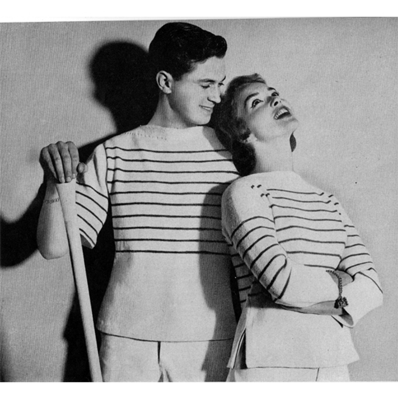 His Hers Knitted Stripped Pullovers Pattern