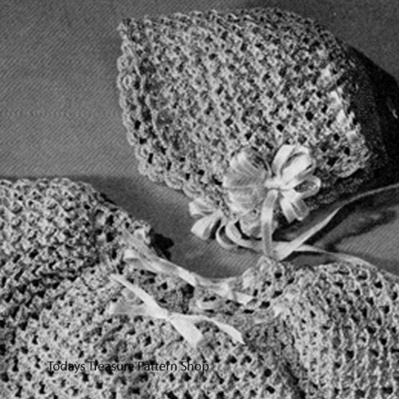 Vintage Baby Bonnet Set Crochet Pattern