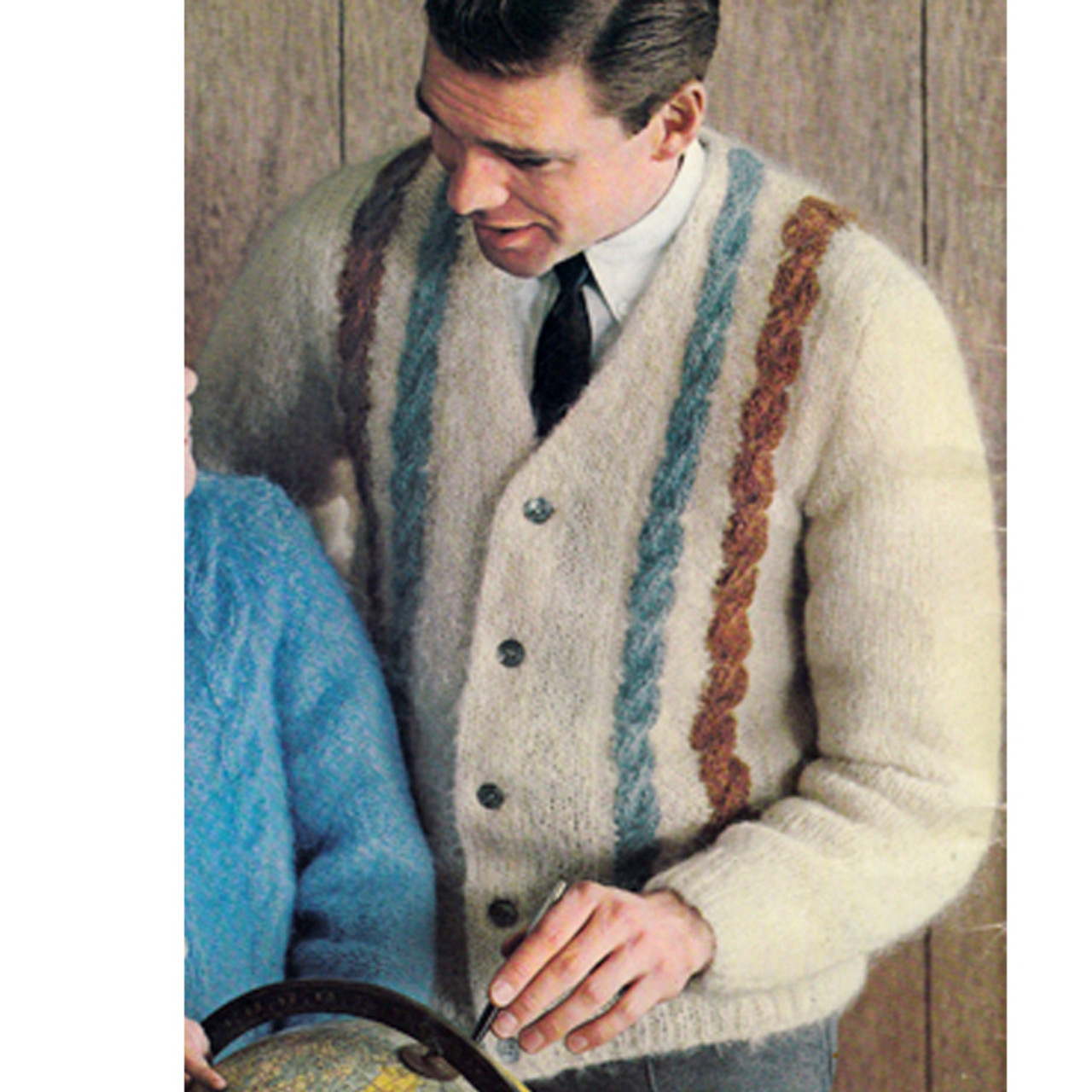 Cable Striped Mans Knitted Cardigan Pattern