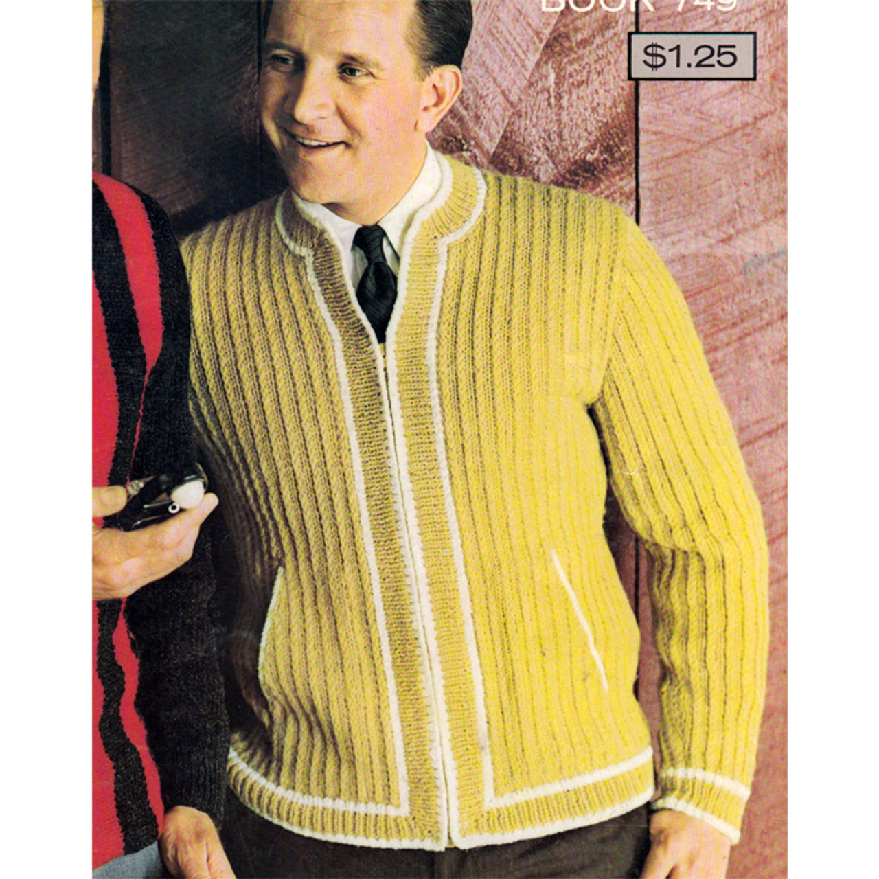 Vintage Knitted Jacket with Zipper for Men