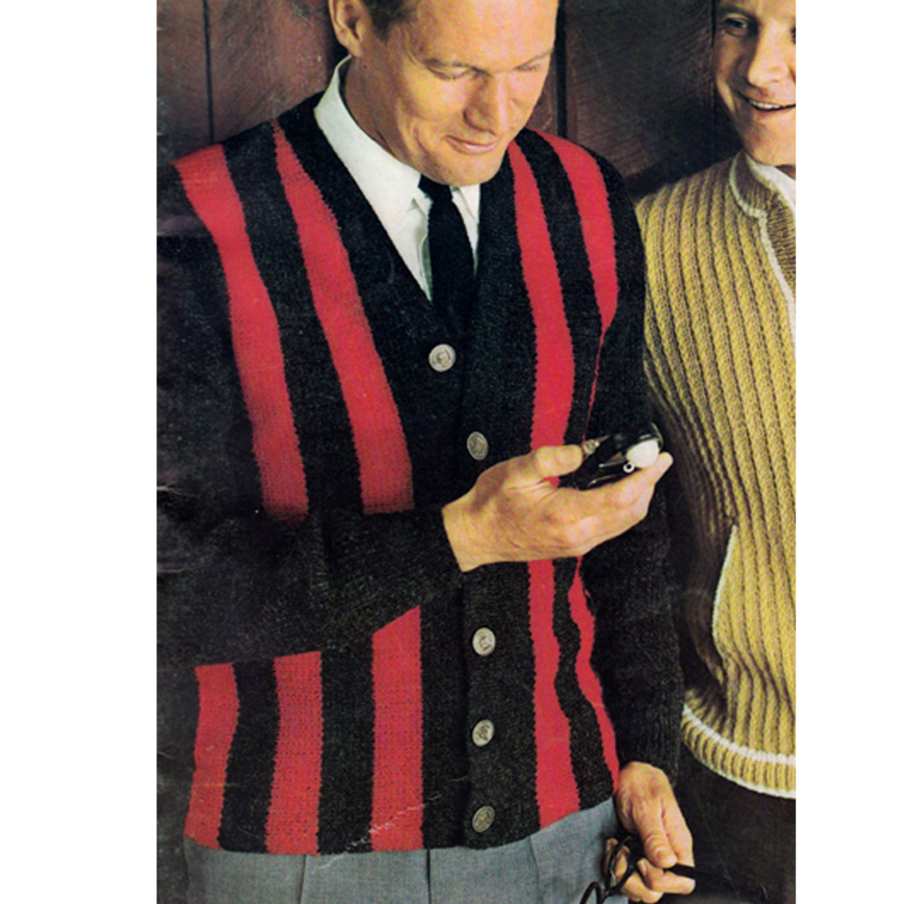 Mans Knitted Striped Cardigan Pattern from Columbia Minerva