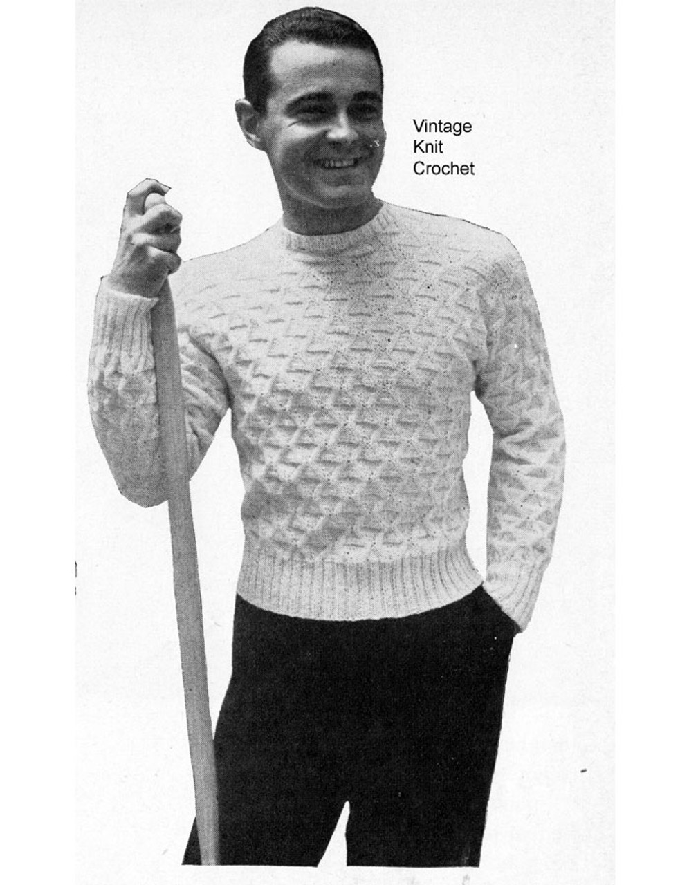 Mans textured pullover knitting pattern