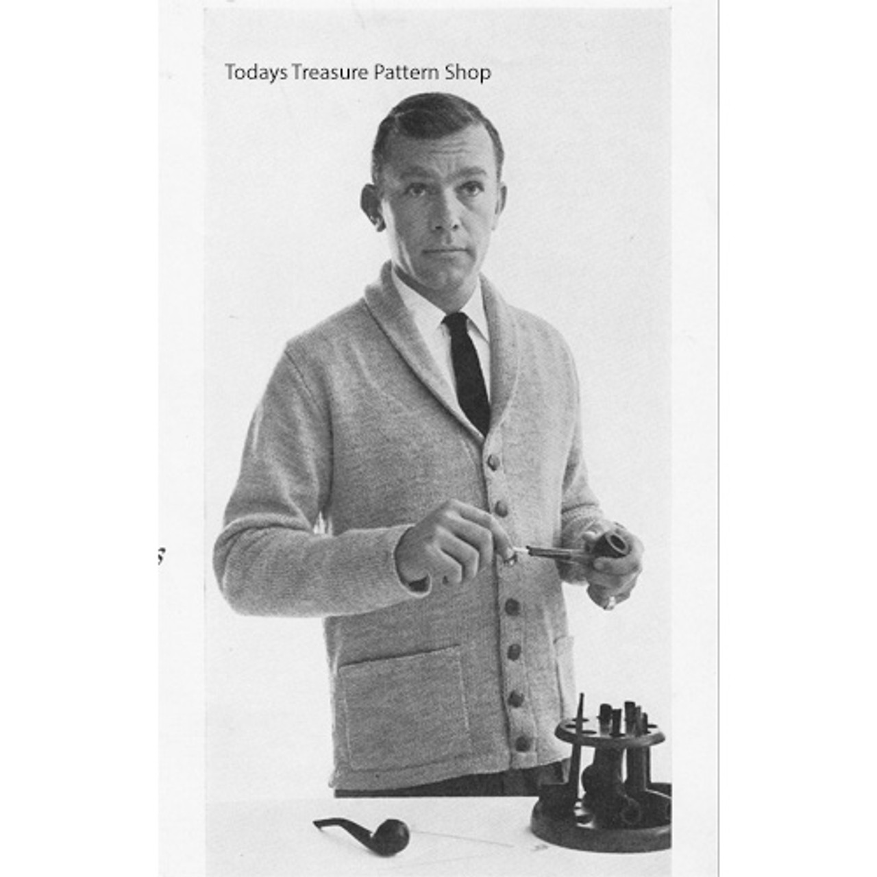 Vintage Mans Cardigan Knitting Pattern with Collar and Pockets