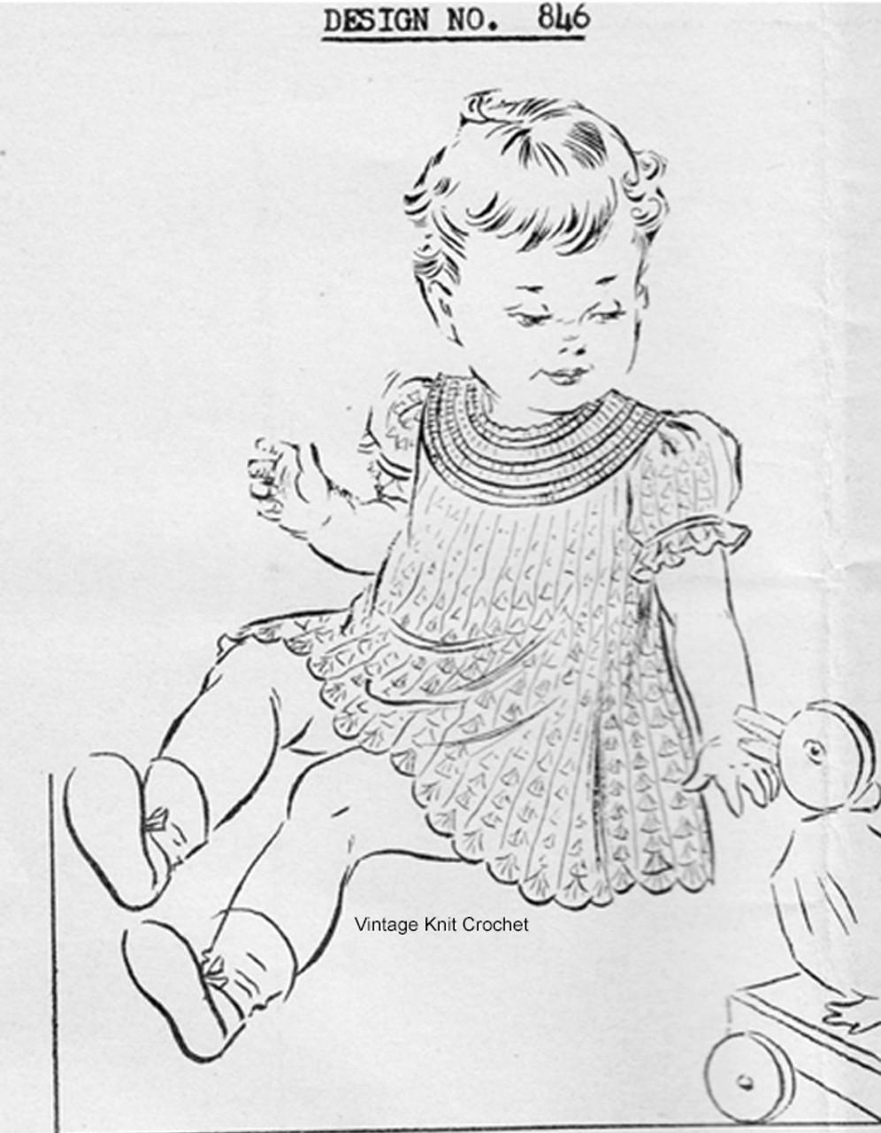 Baby Crochet Dress Pattern, Shell Stitch, Mail Order 846