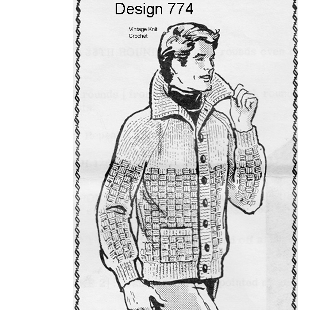 Mail Order Design 774, Mans Knitted Cardigan Pattern
