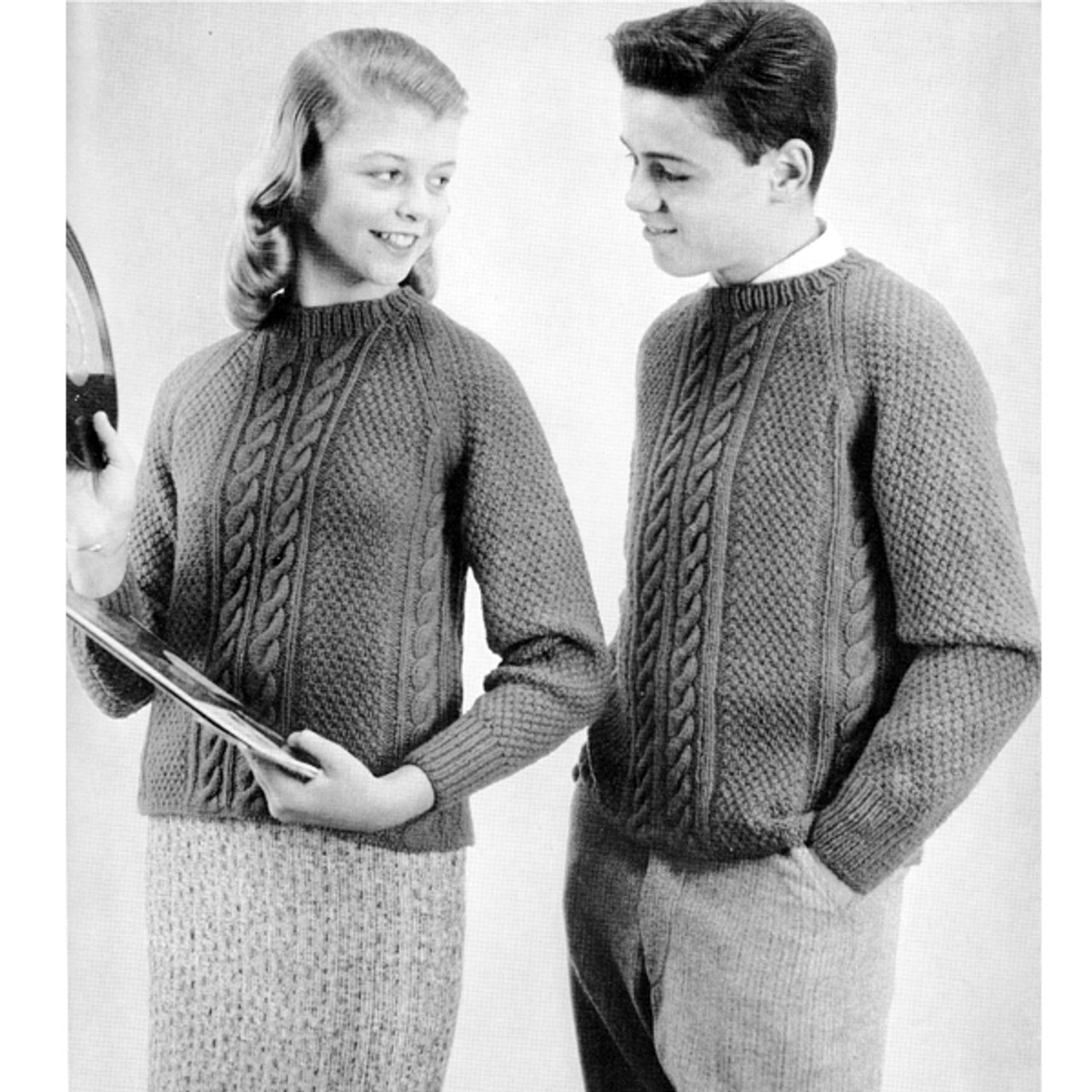 Teens Cable Sweater Knitting Pattern
