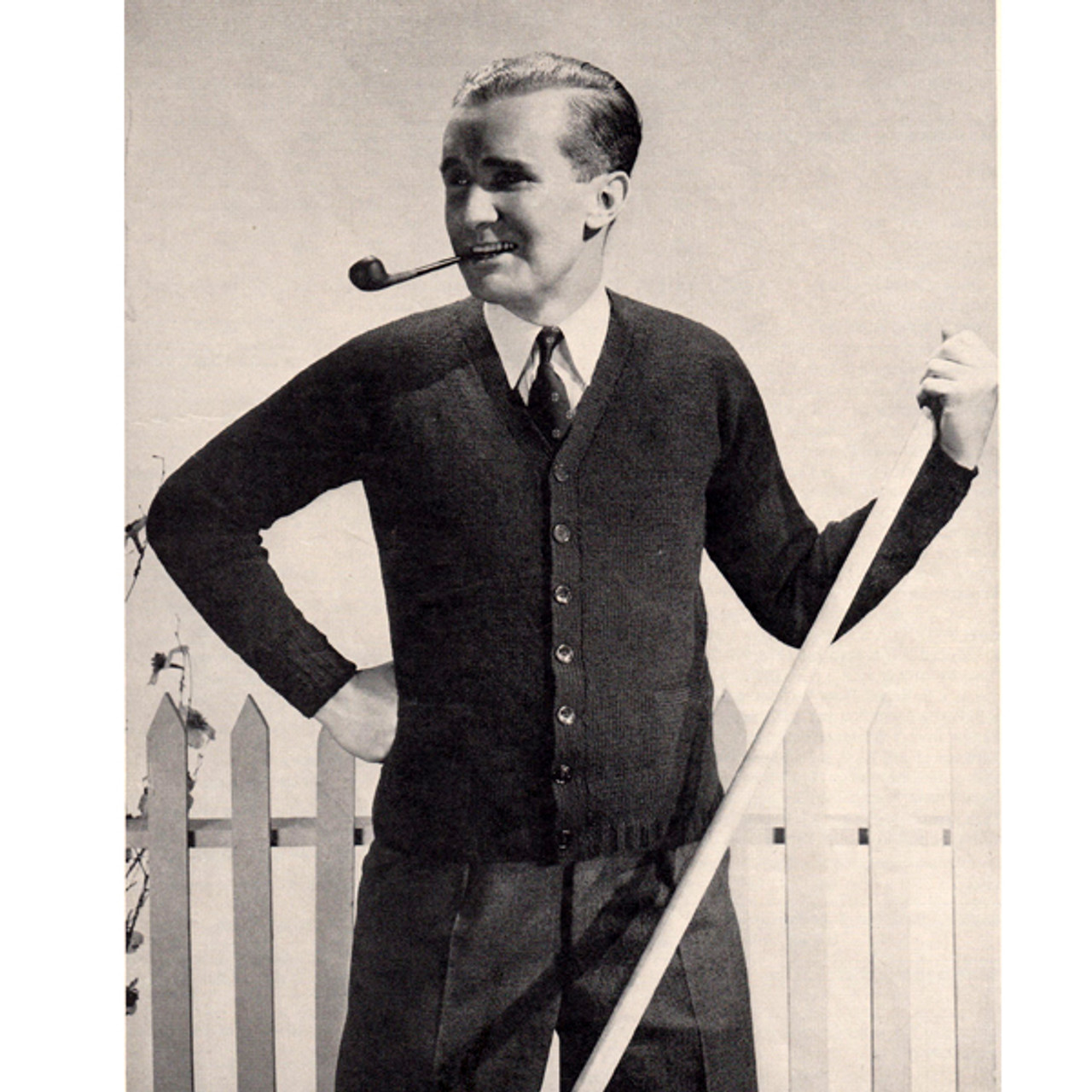 Vintage Mens Classic Cardigan Knitting Pattern