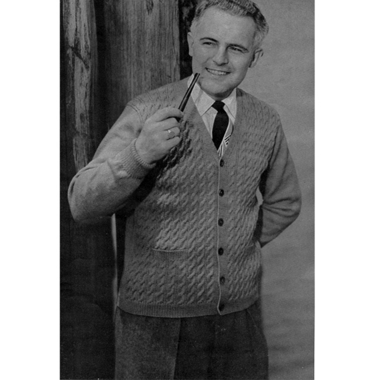 Mans Cabled Cardigan Pattern, Vintage 1950s