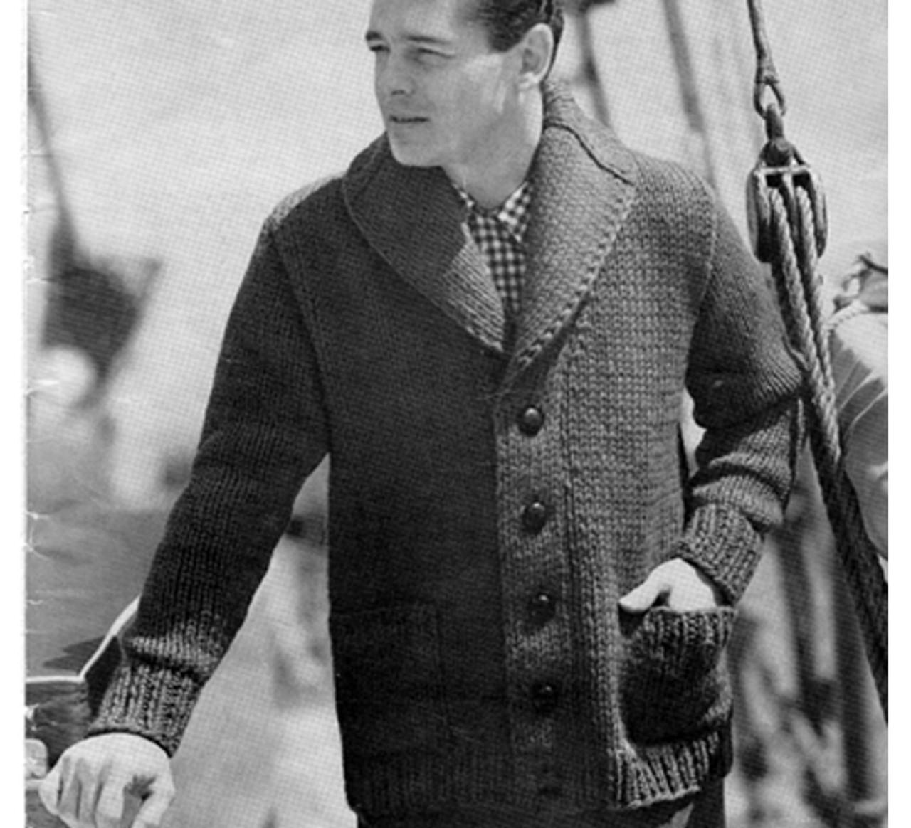 Vintage Knitted Mans Coat Pattern