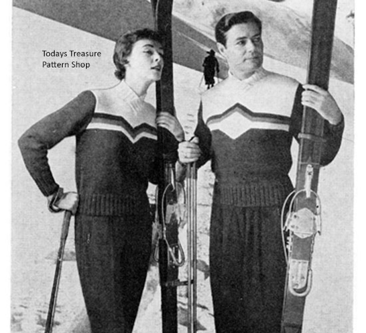 His Hers Knitted Ski Sweater Vintage Pattern