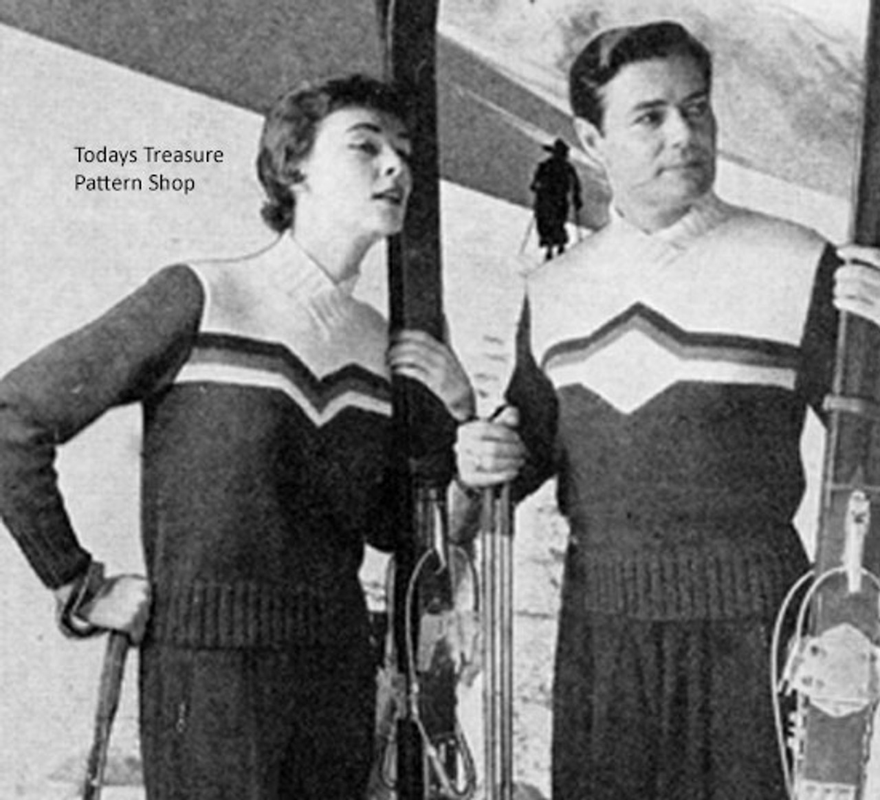 Vintage Knitting Pattern for His and Hers Ski Sweaters