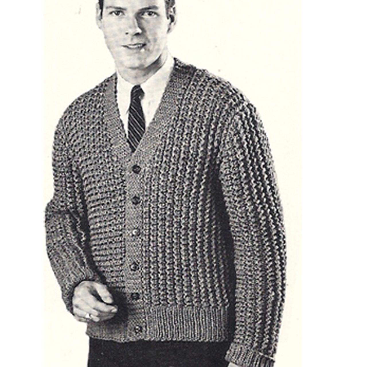 Mans Ribbed Cardigan Knitting pattern