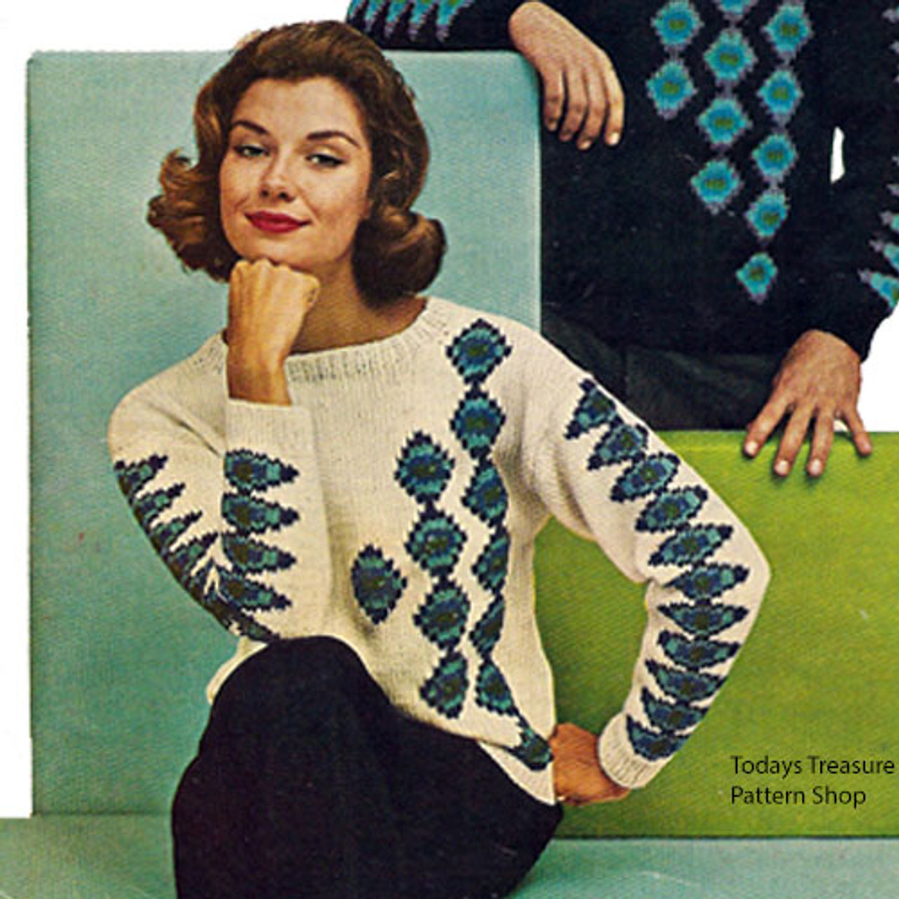 Womans Vintage Knitted Ski Sweater Pattern