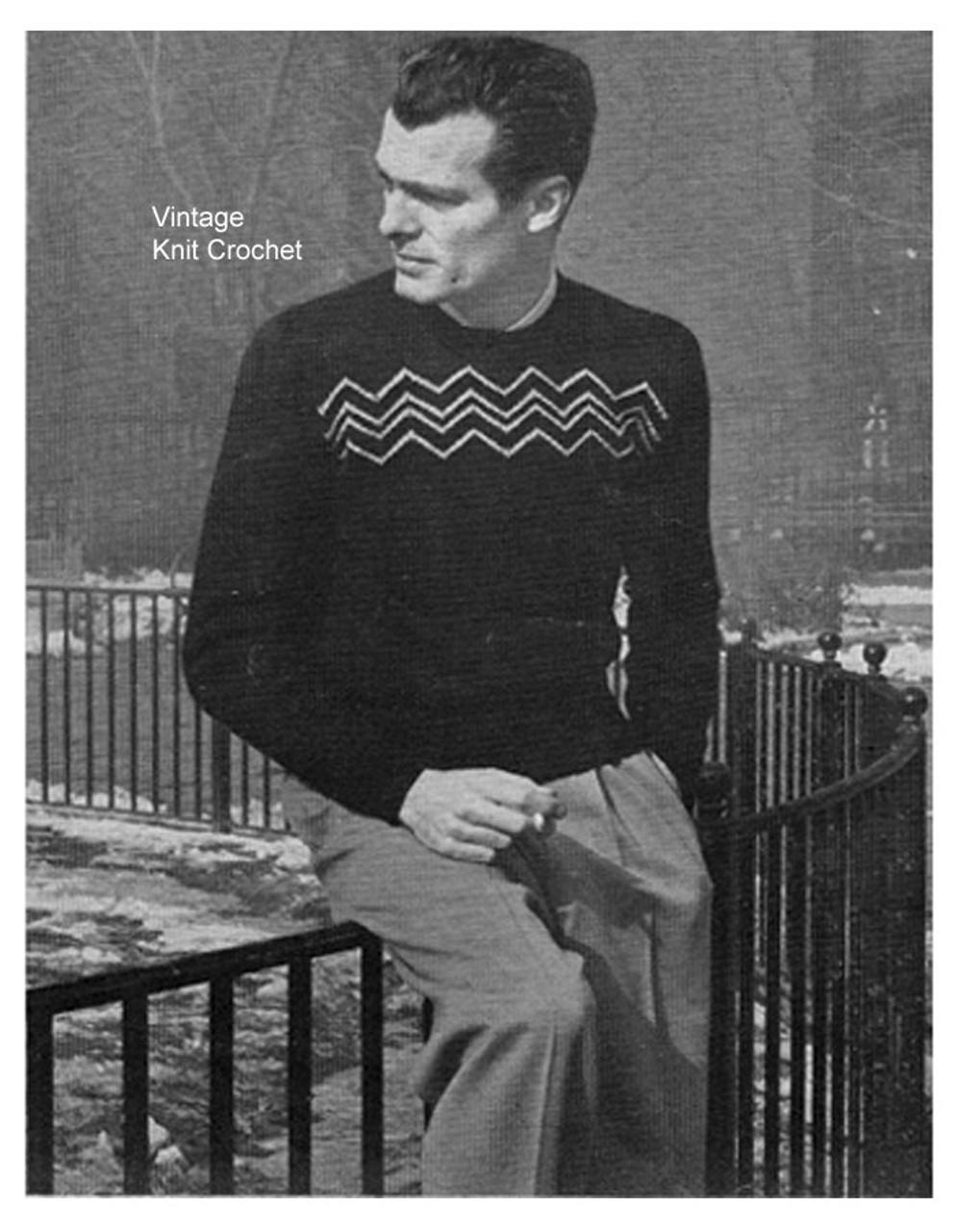 Vintage Knitted Mans Pullover Pattern