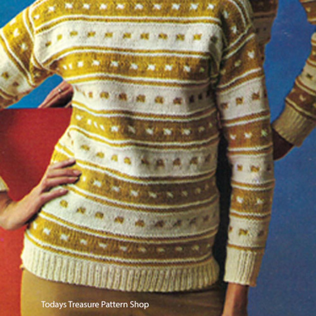 Vintage Stripe Motif Knitted Sweater Pattern
