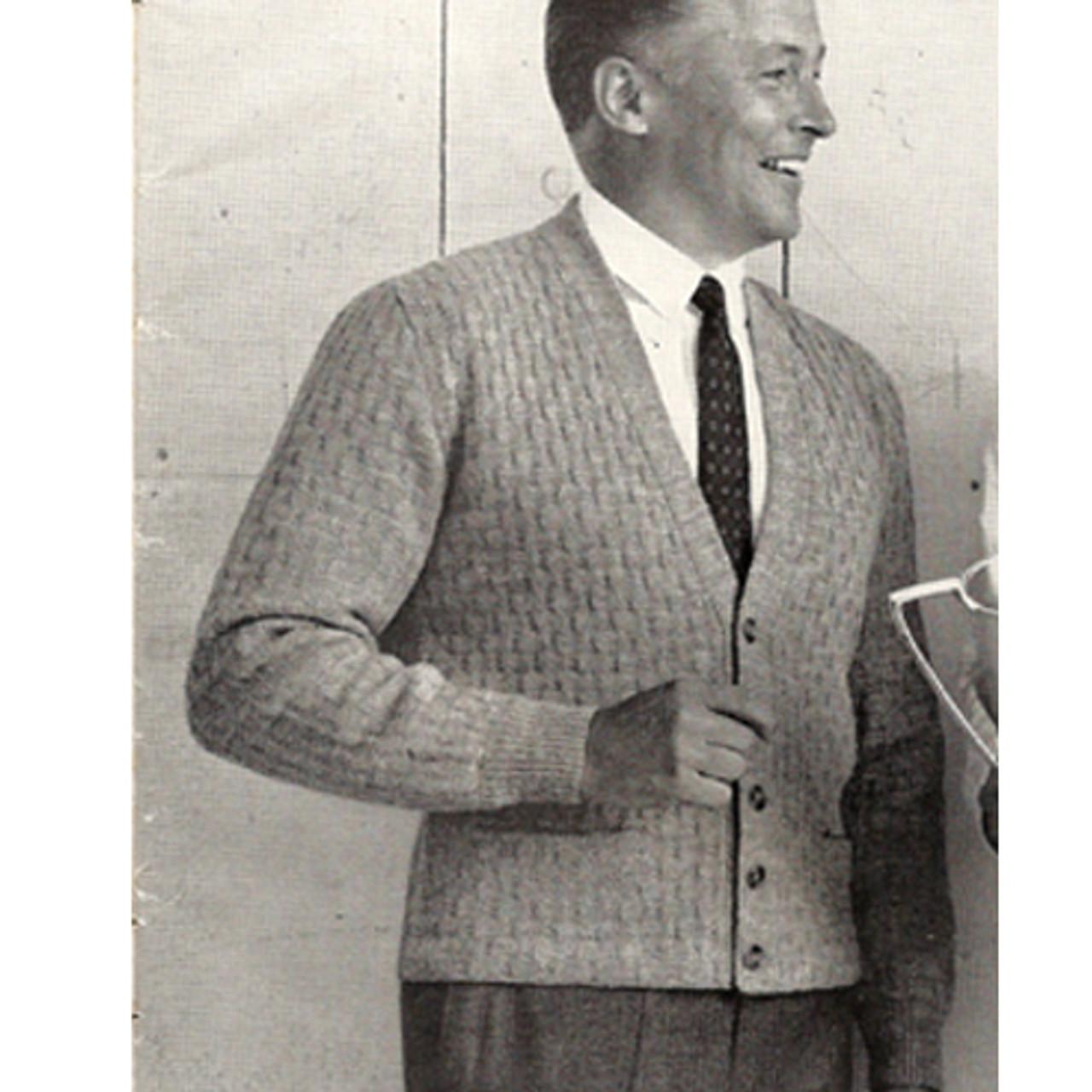 Mans Knitted Cardigan Pattern, Vintage 1950