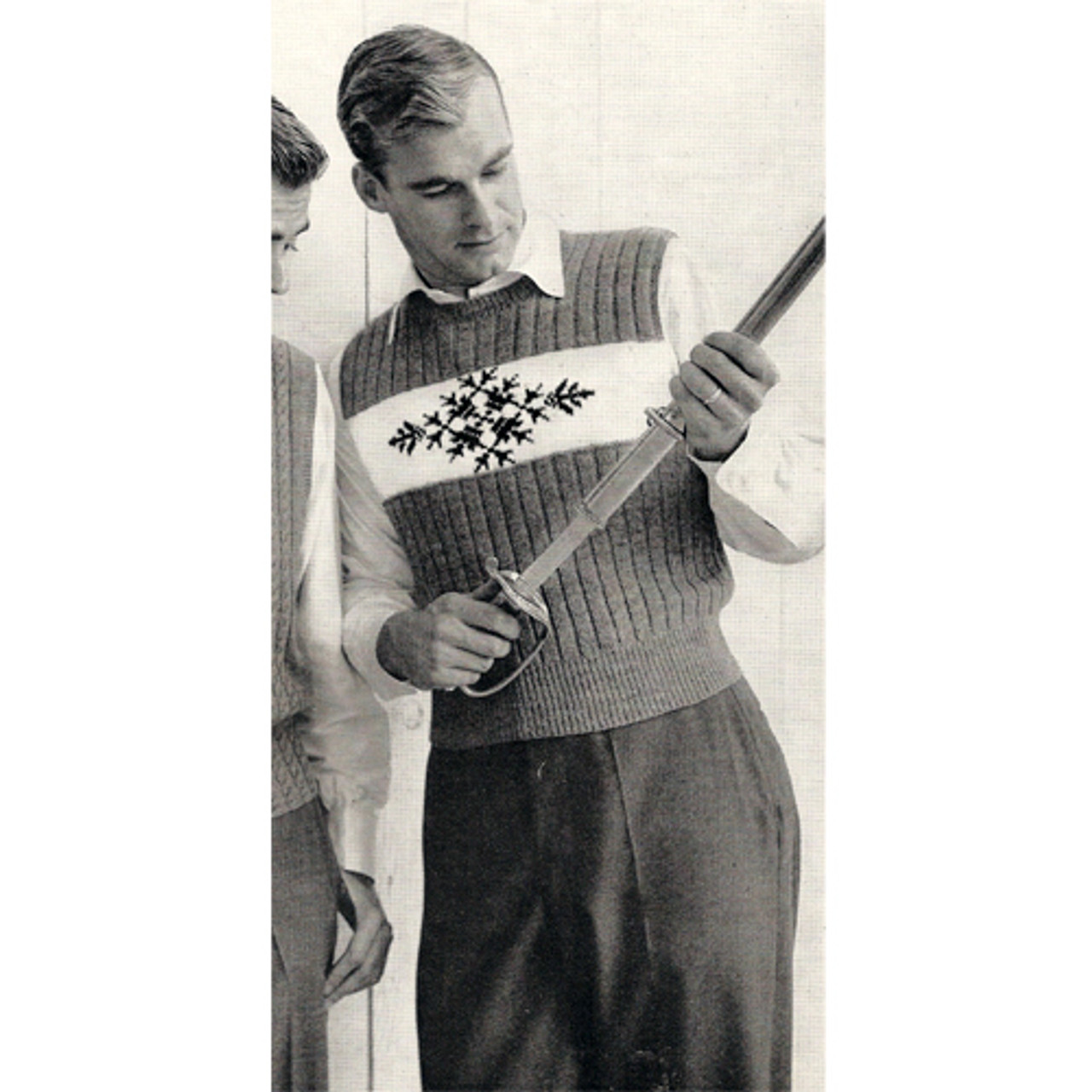 Mans Vintage Sleeveless Pullover Knitting Pattern